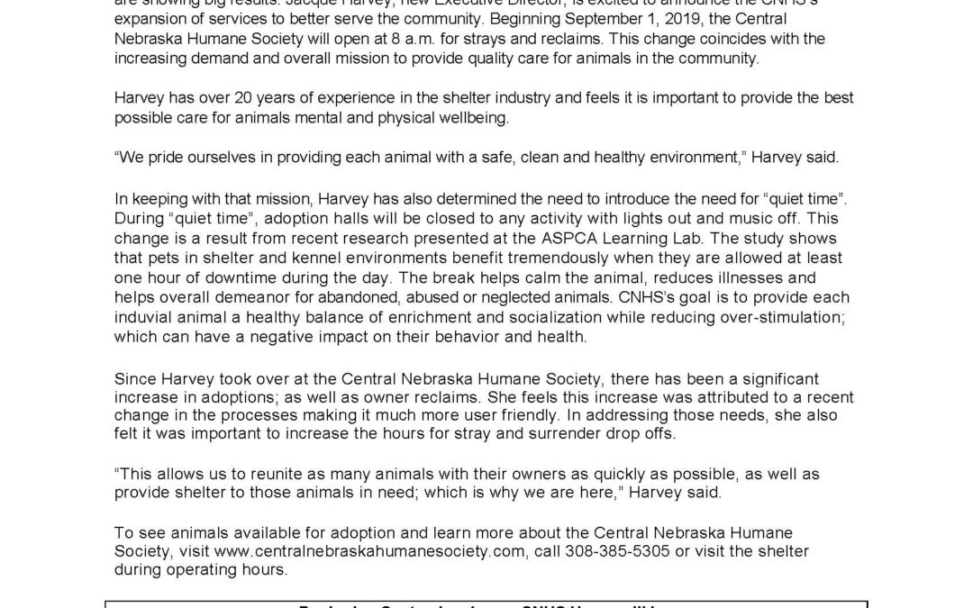 Press Release: New Hours and Expanded Services at the Central Nebraska Humane Society